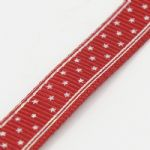 Dark Red with Star 10mm Grossgrain Ribbon - 1 metre length